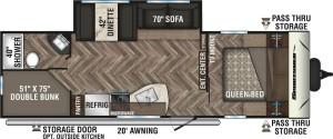 2020-KZ-RV-Sportsmen-SE-271BHSE-Travel-Trailer-Floorplan
